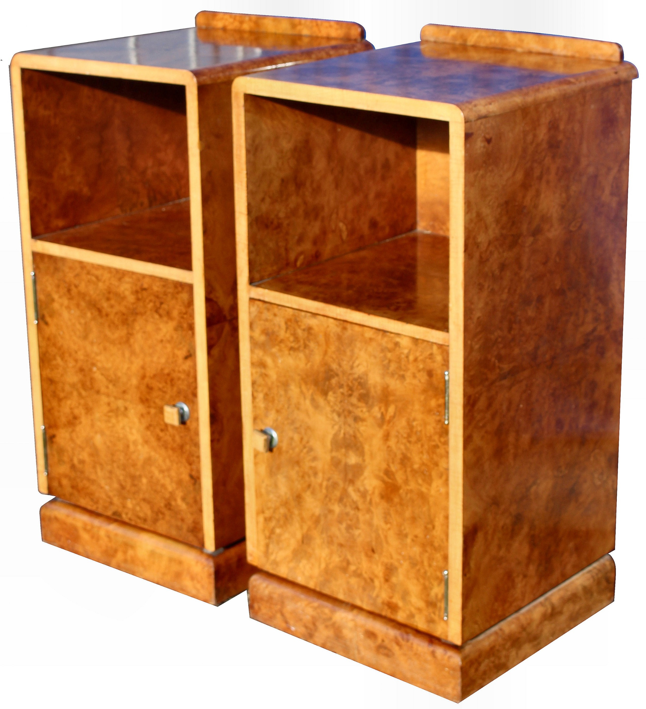 art deco pair of walnut bedside cabinets c1930