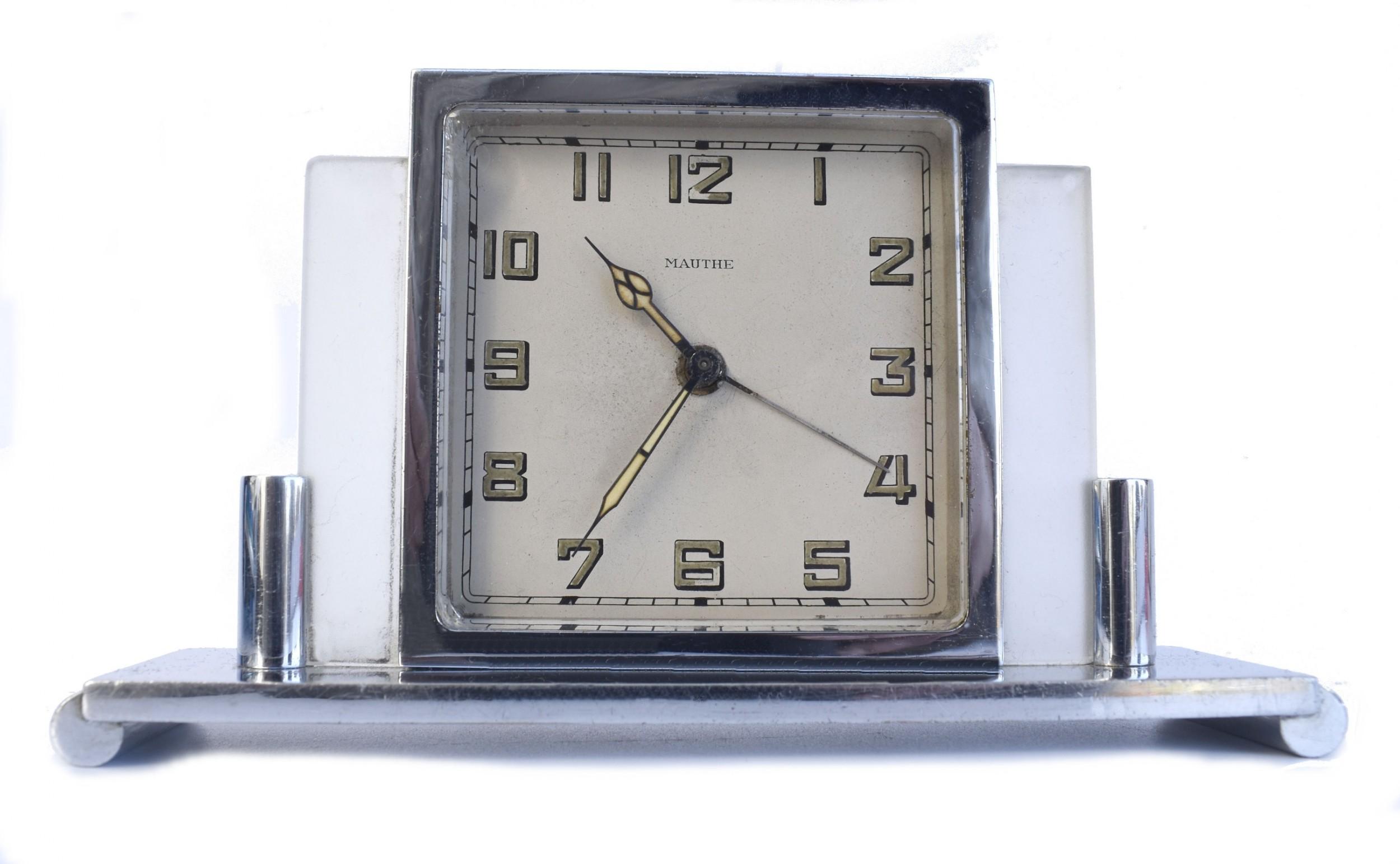 art deco 8 day desk clock by mauthe c1930