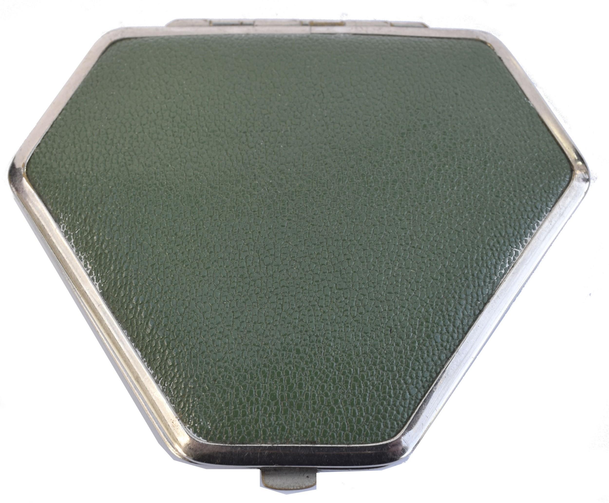 art deco leather chrome powder compact c1930