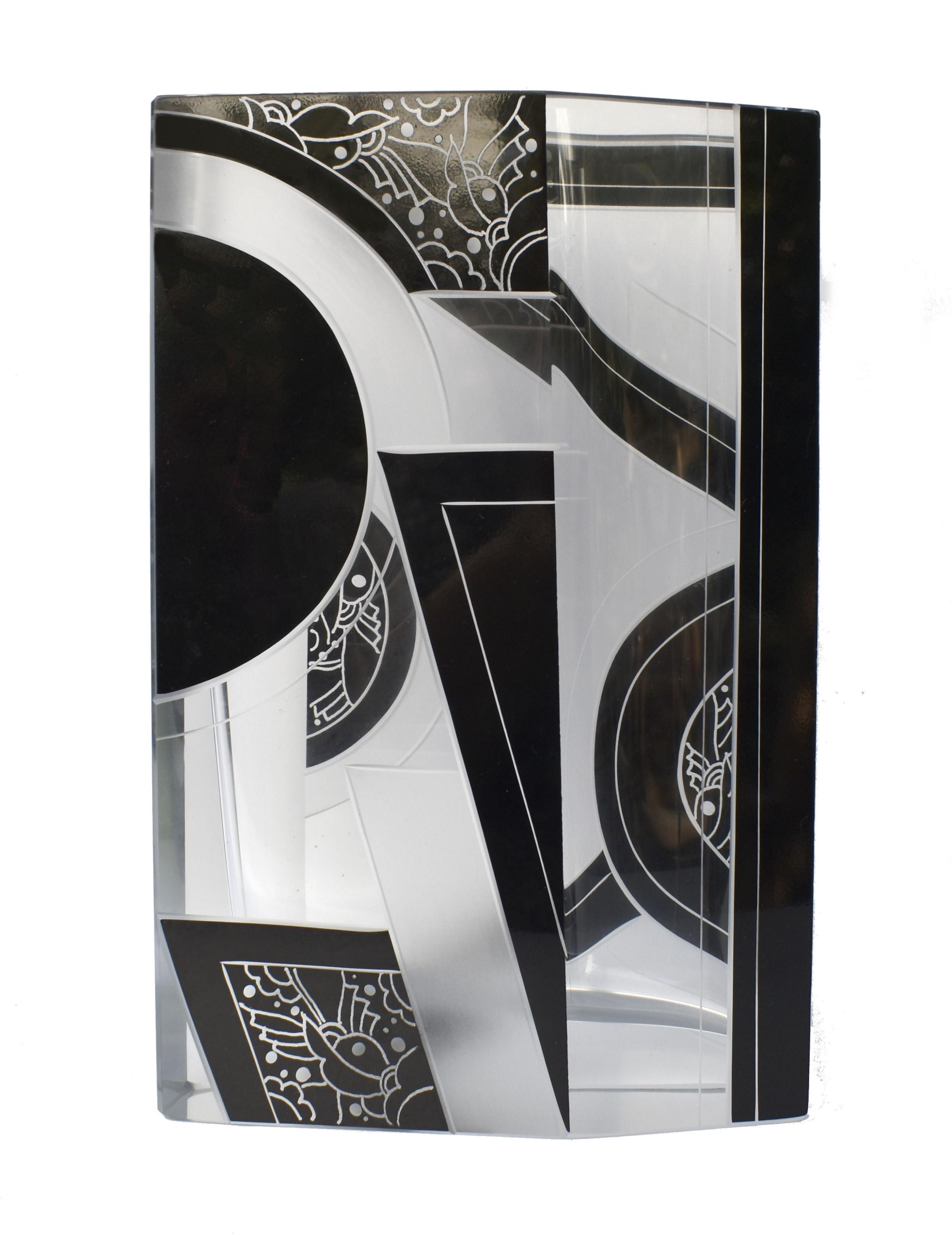art deco glass vase by karl palda c1930