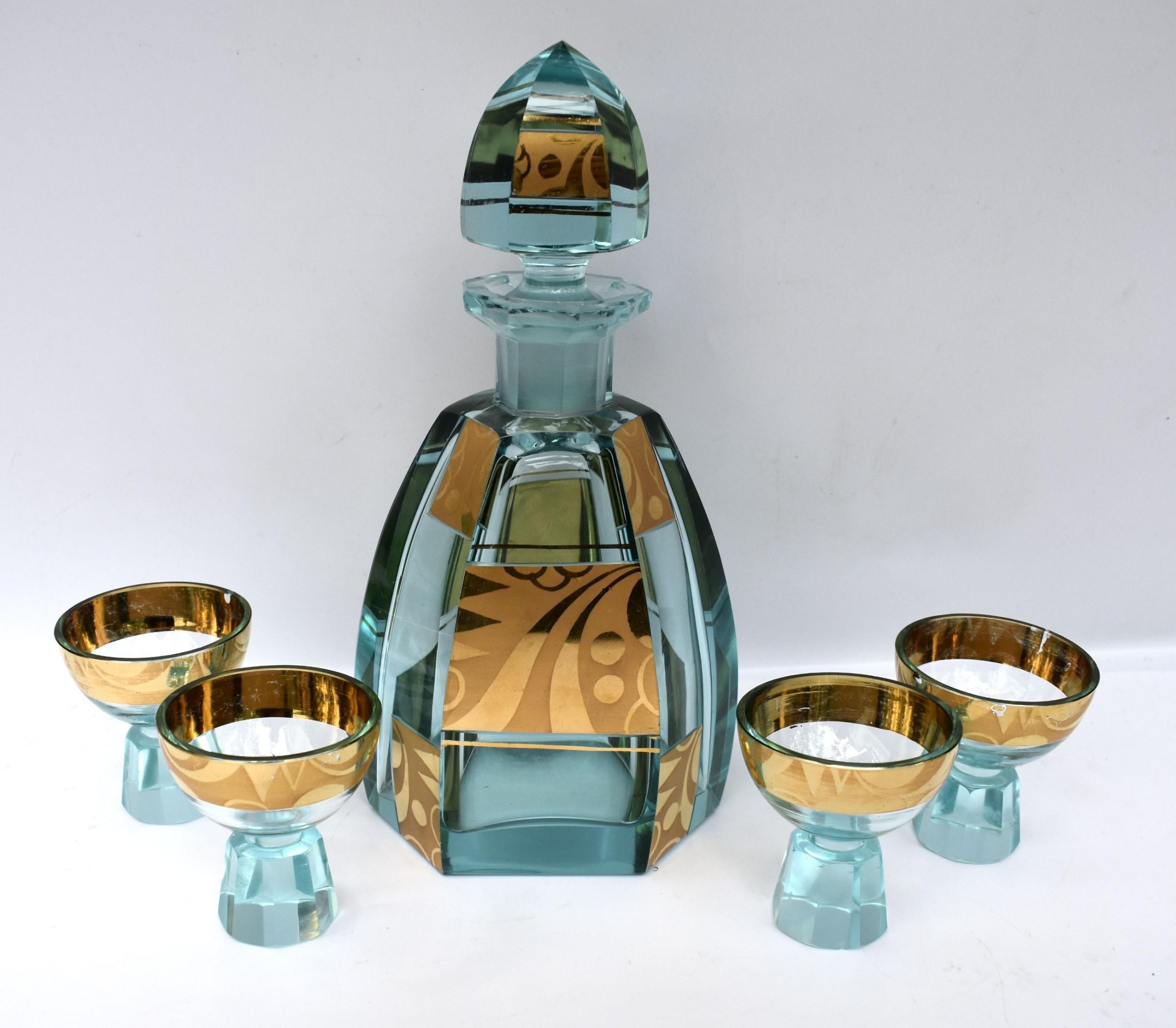 art deco glass decanter set czech c1930s