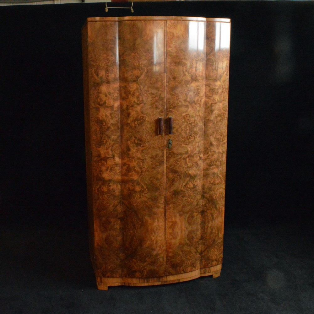 Art Deco Burr Walnut Gentleman S Wardrobe 498858  # Deco Armoire Metallique Vintage