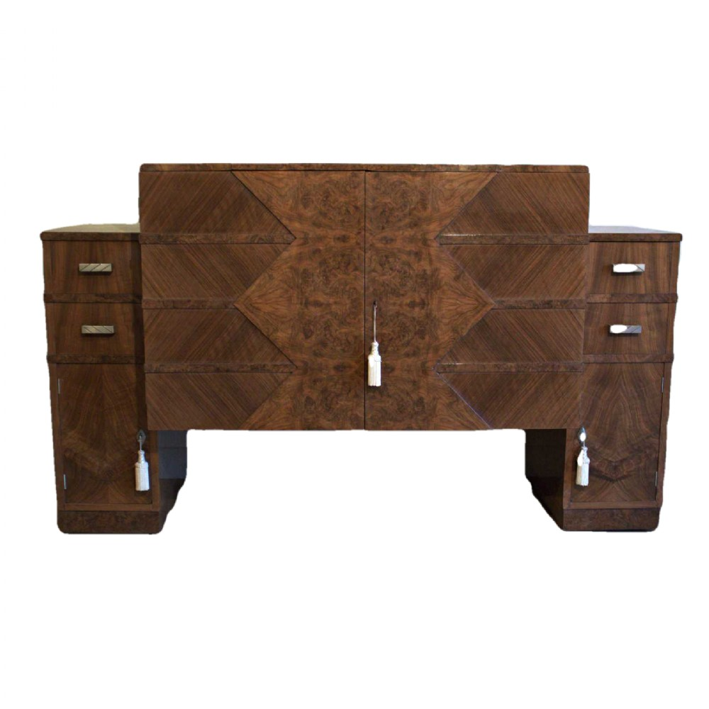 art deco burr walnut sideboard