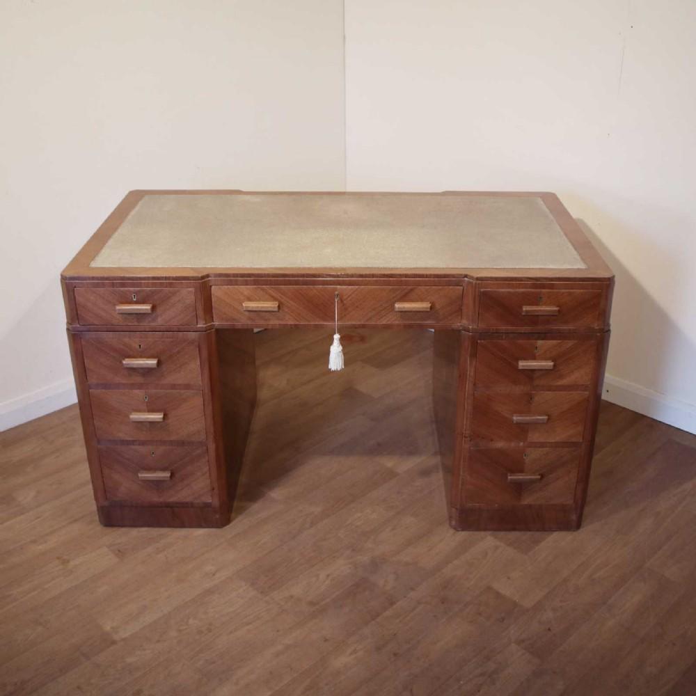 art deco walnut desk by maple co