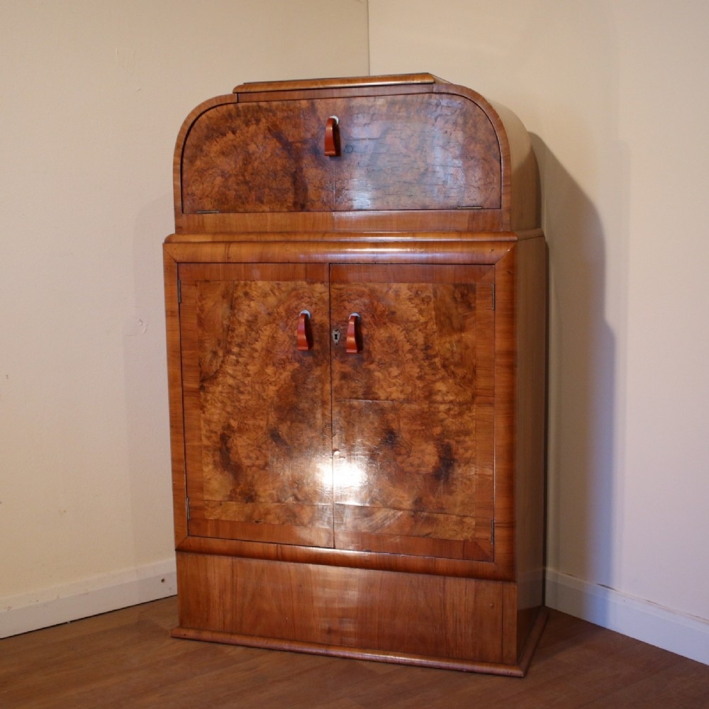 art deco burr walnut cocktail cabinet with original phenolic handles