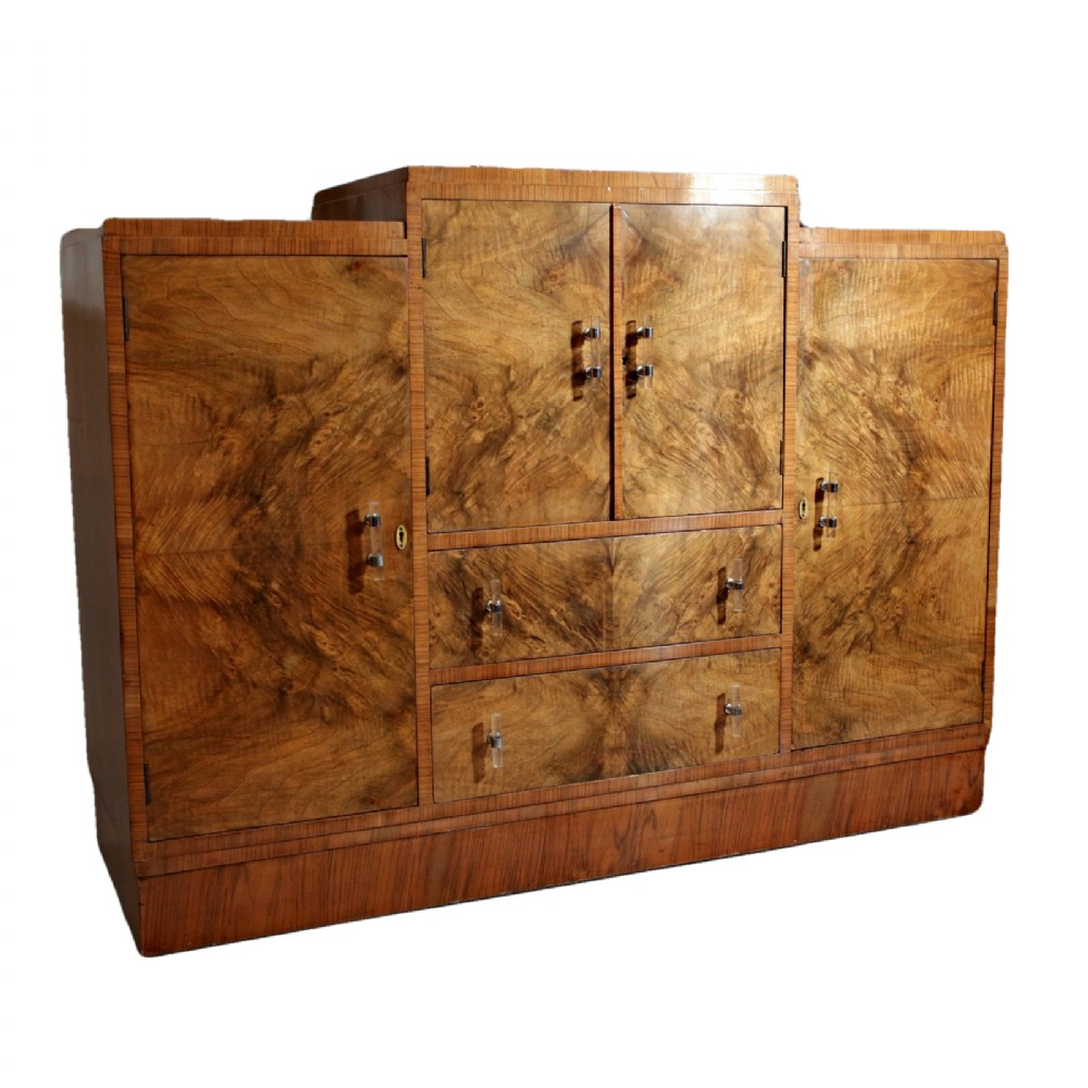 art deco figured walnut sideboard with lucite handles
