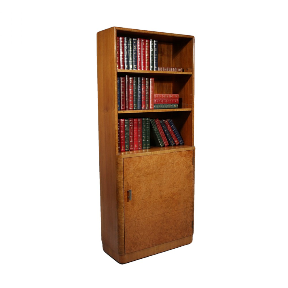 art deco burr walnut bookcase of unusual slim proportions