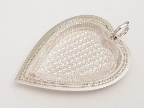 victorian silver heart shaped serving dish