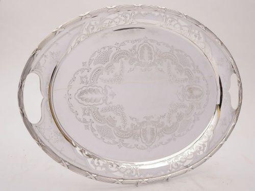fabulous large edwardian silver plated tray circa 1905