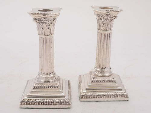 pair of elegant silver plated edwardian candlesticks circa 1905