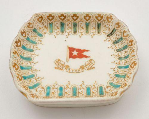 unusual small white star china dish circa 1900