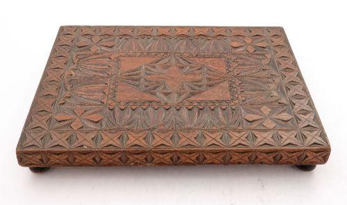 nice edwardian welsh chip carved mahoganycoaster circa 1905