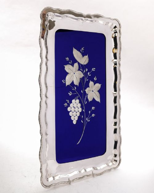 stunning silver plated and cobalt blue mirror glass tray circa 1920