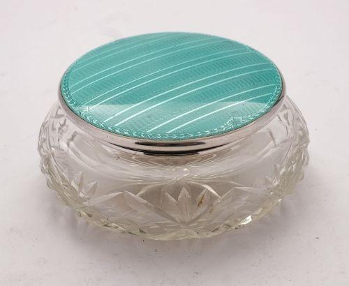 lovely art deco silver enamel topped jar birmingham 1931