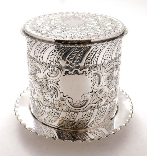 fabulous victorian silver plated biscuit box circa 1890