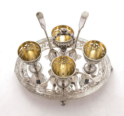 gorgeous elkington george v silver plated egg cruet 1914