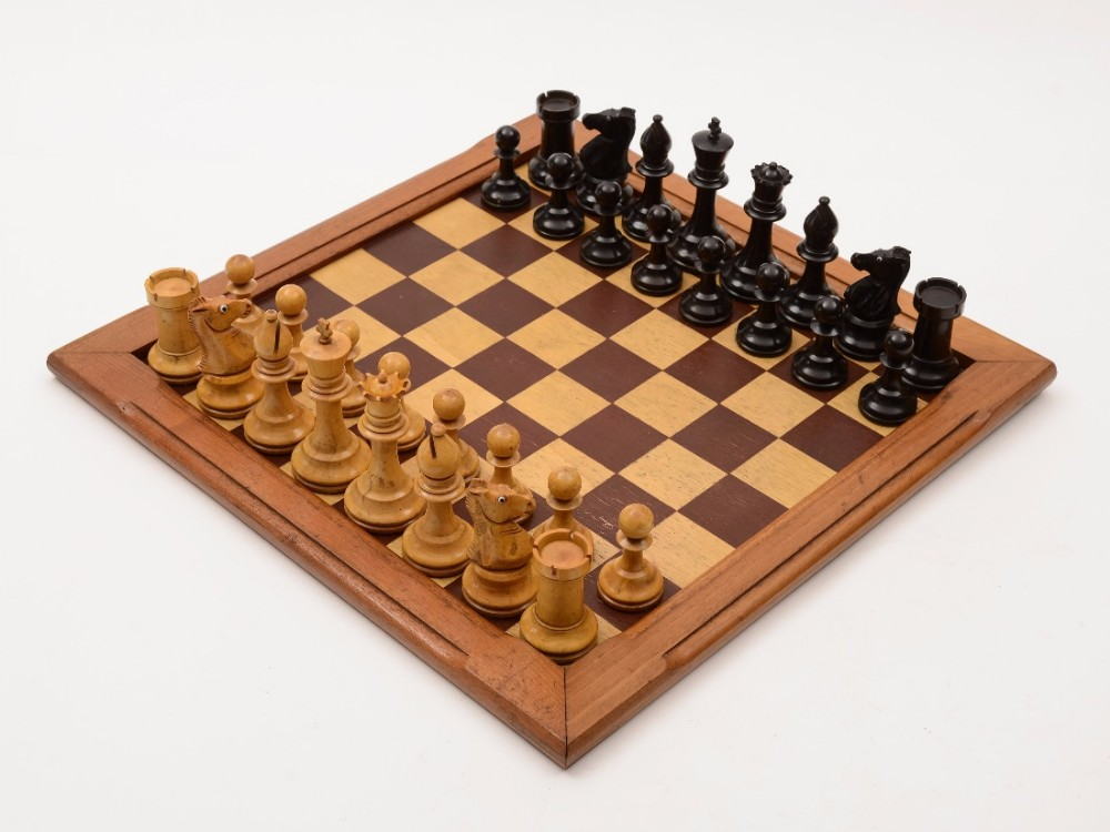 Edwardian Stained Box Wood Chess Set With Glass Eyes