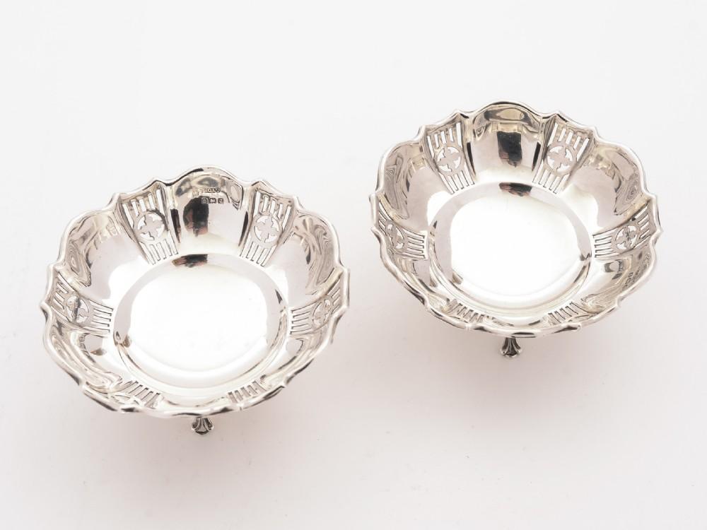 pair of silver bon bon dishes birmingham 1933