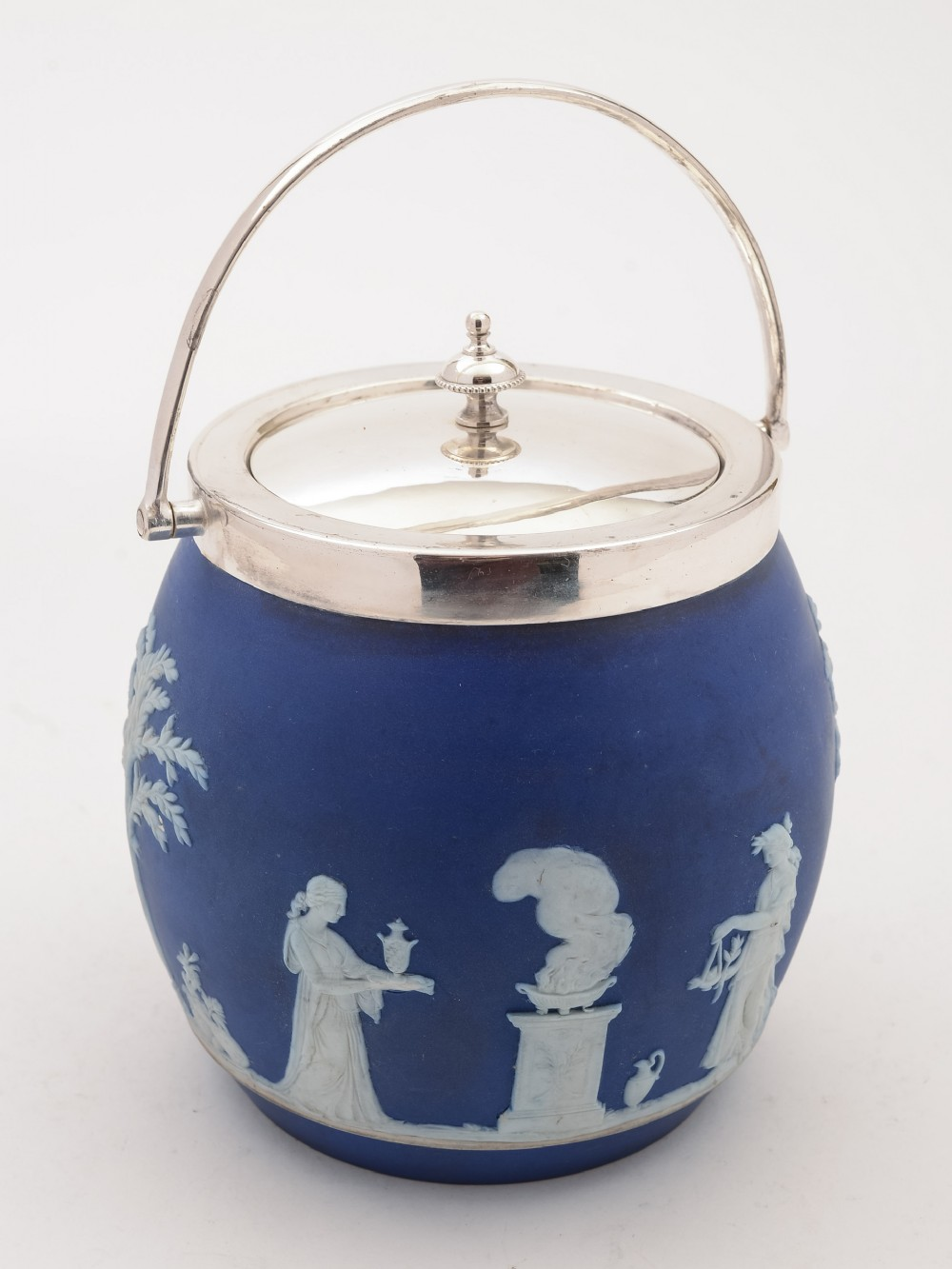 wedgwood blue jasperware biscuit barrel circa 1900