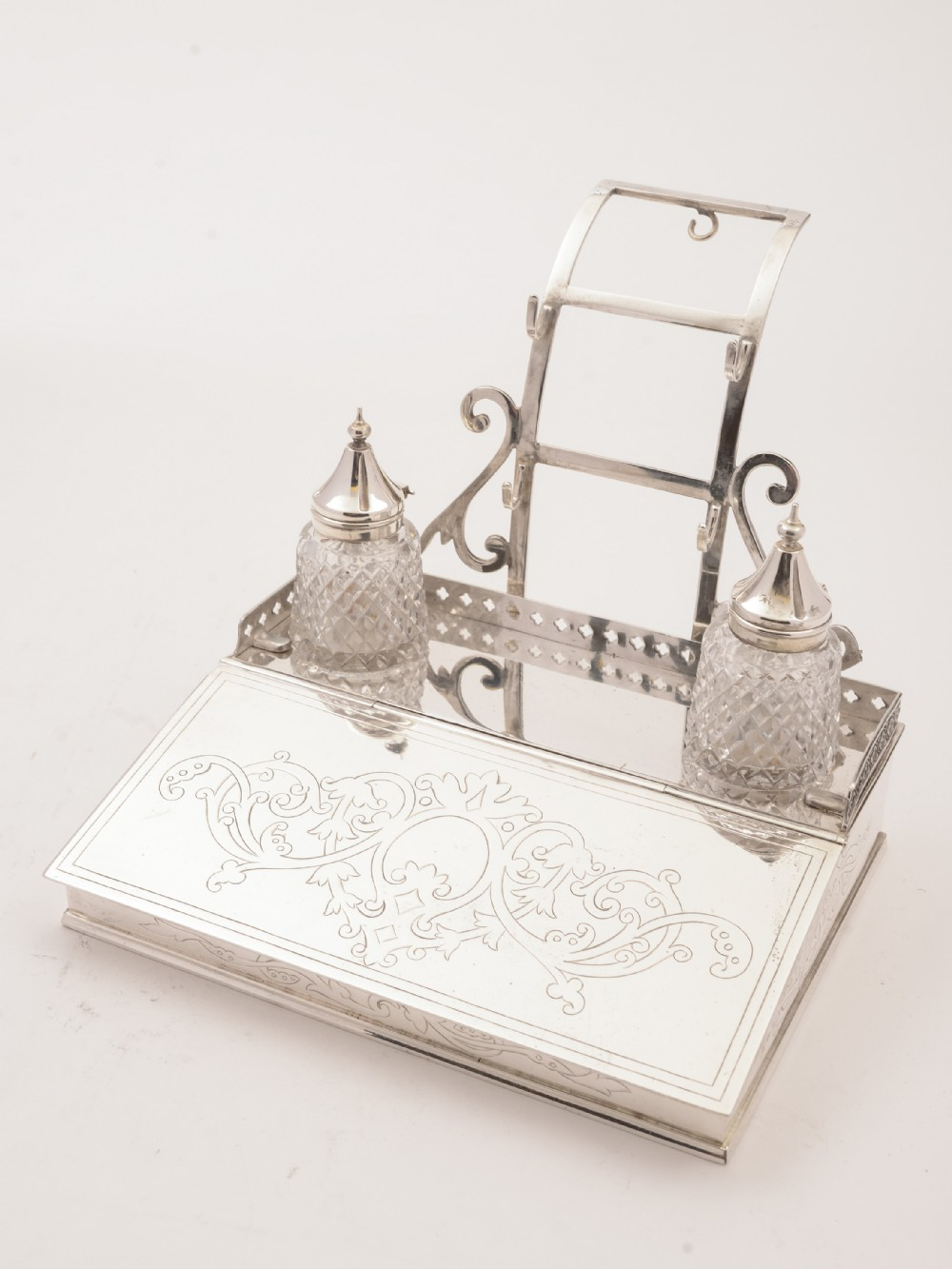 victorian silver plated ink stand 1868