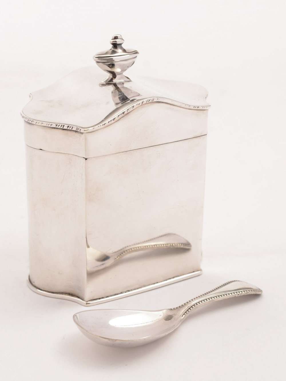 edwardian silver plated tea caddy with spoon circa 1905