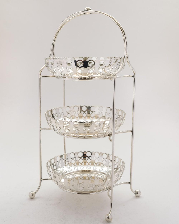 elegant art deco silver plated 3 tier cake stand circa 1930