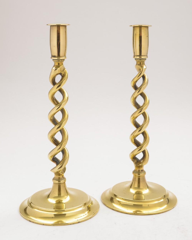 lovely pair of brass open twist candlesticks circa 1920
