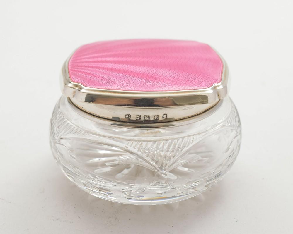 pretty art deco silver enamelled topped jar birmingham 1935