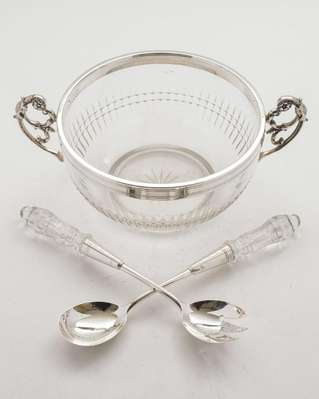 gorgeous wmf cut glass silver plated salad bowl circa 1900