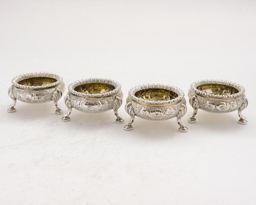 lovely set of 4 silver plated victorian elkington salts 1861