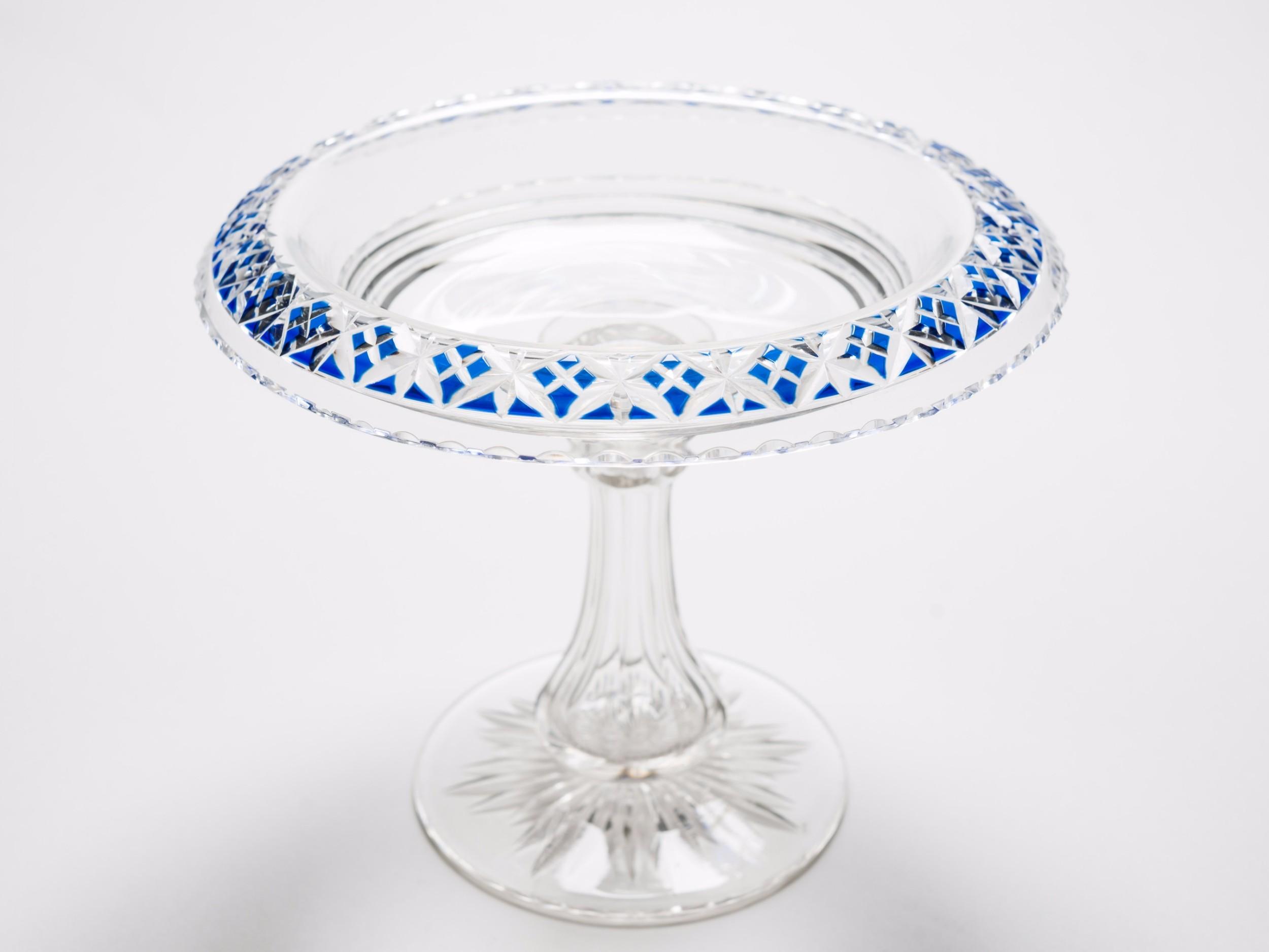 victorian cut glass tazza circa 1890