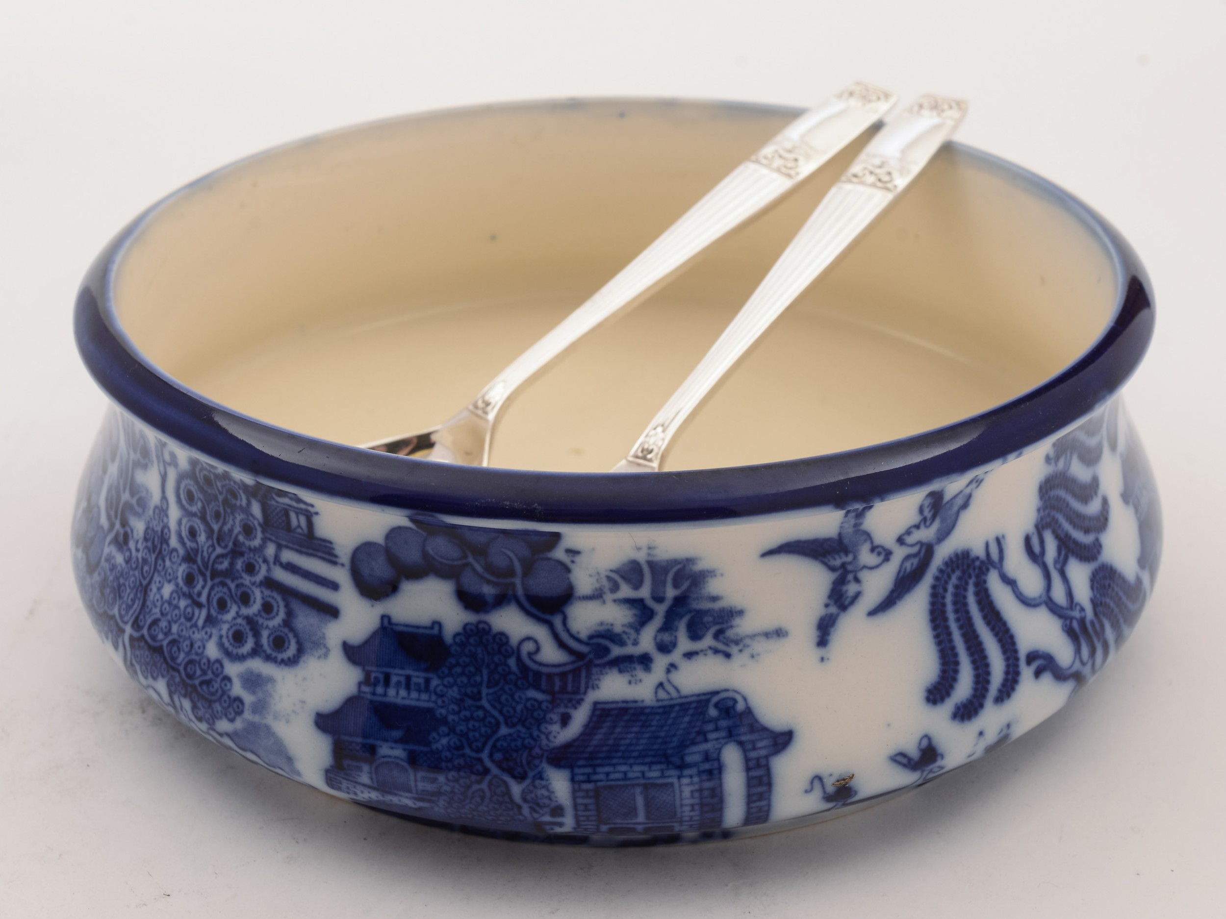 royal dalton flow blue salad bowl circa 1900