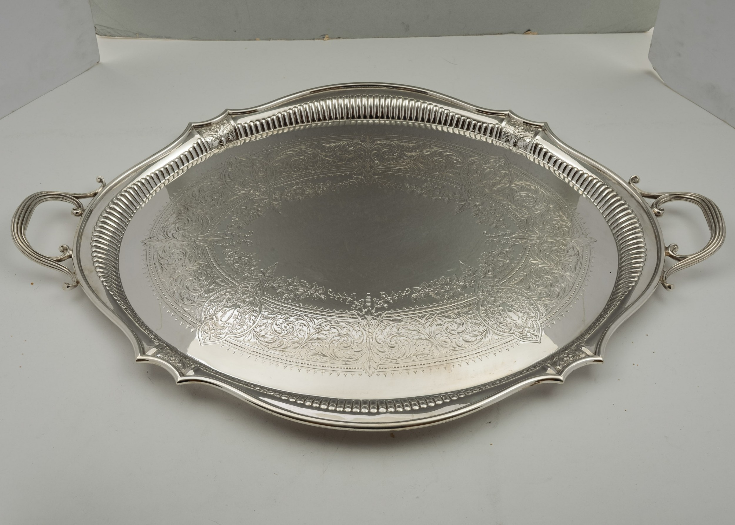 lovely victorian silver plated butlers serving tray circa 1890