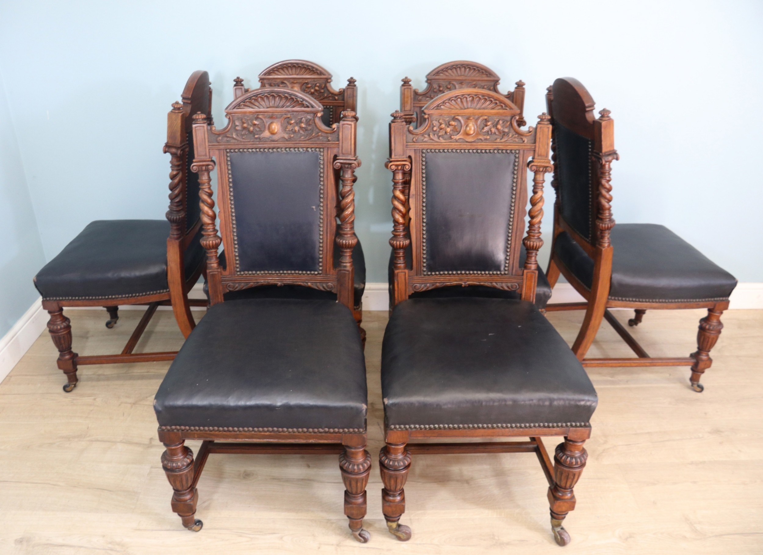 set of six late victorian goodall lamb heighway dining chairs in the gothic revival style