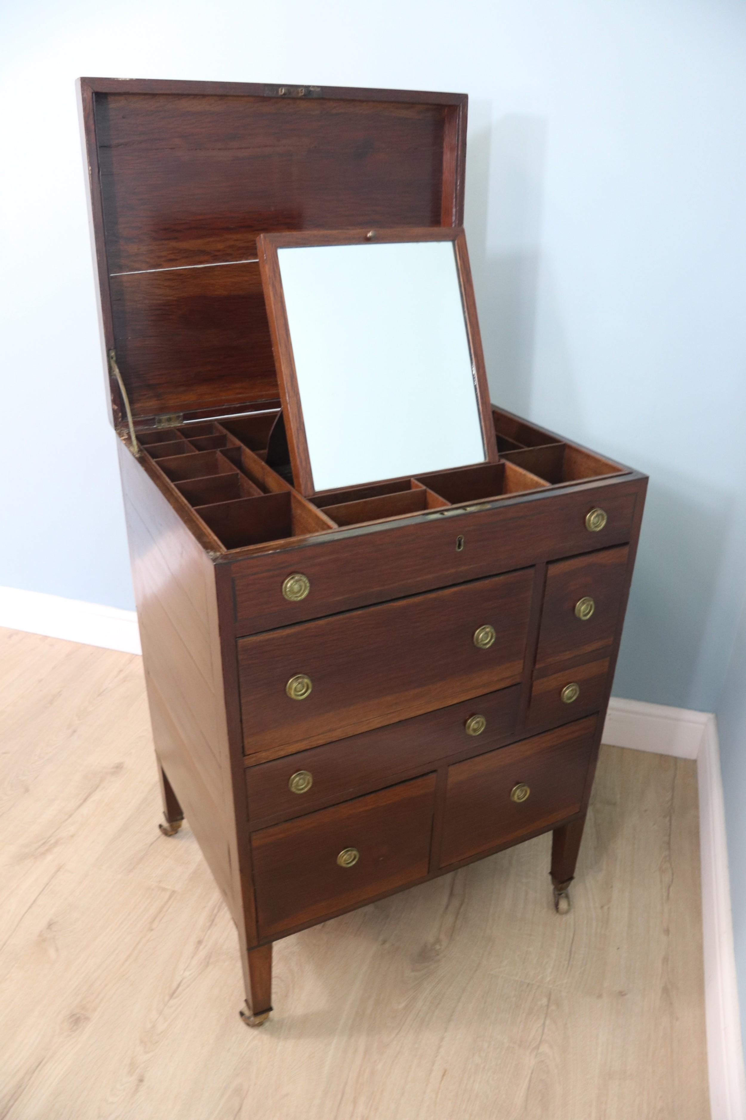 19th century vanity table with flip top lid