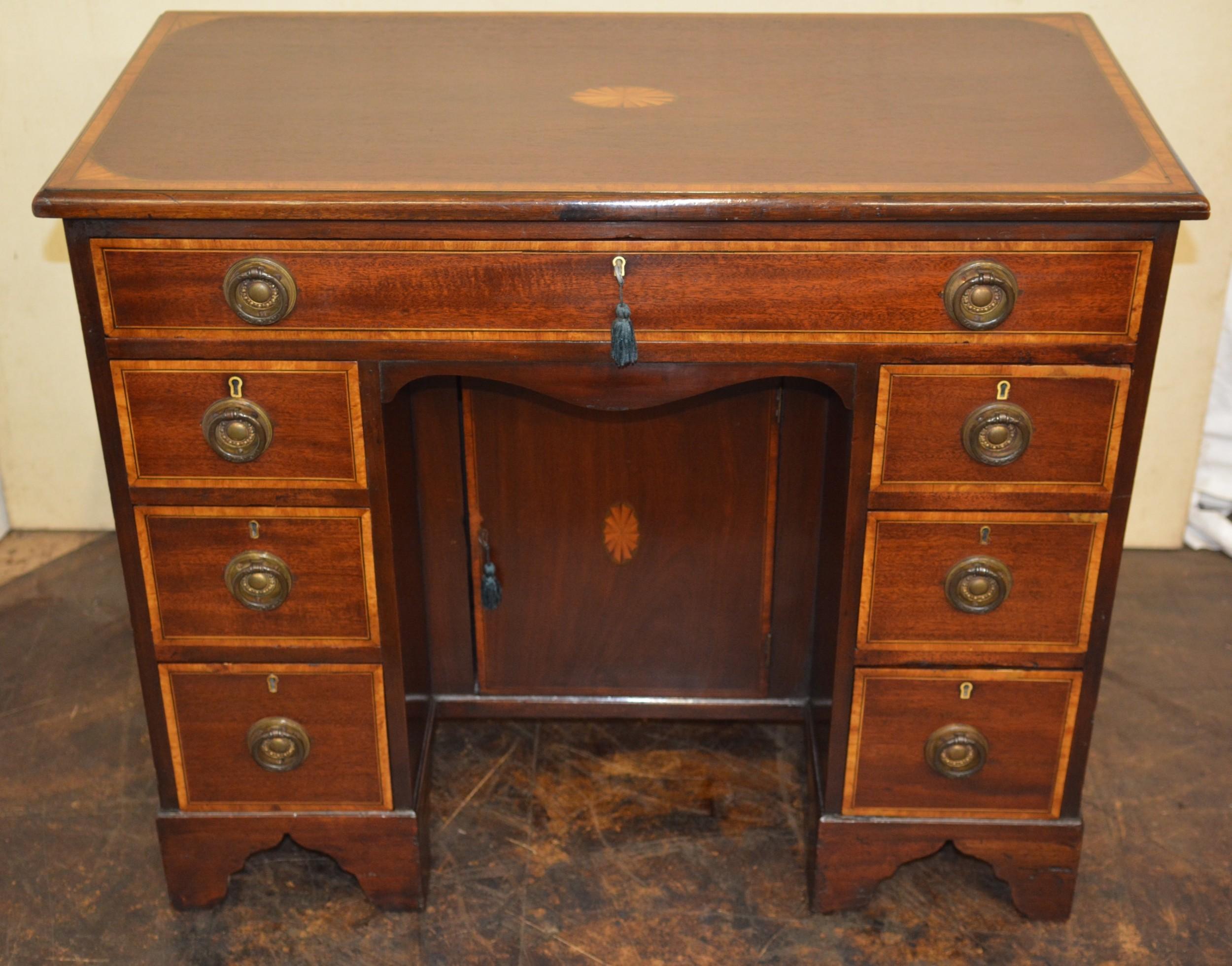 mahogany inlaid kneehole desk