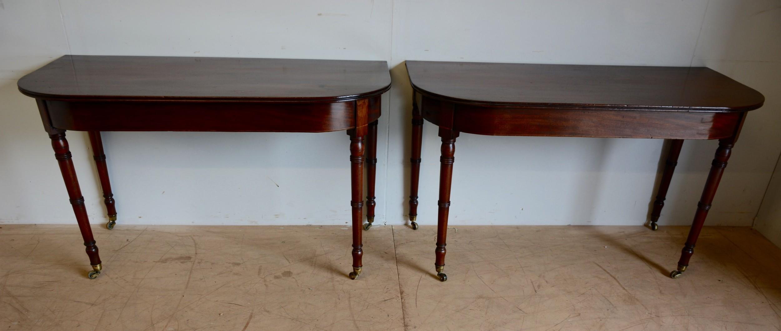 pair of georgian mahogany dend console tables