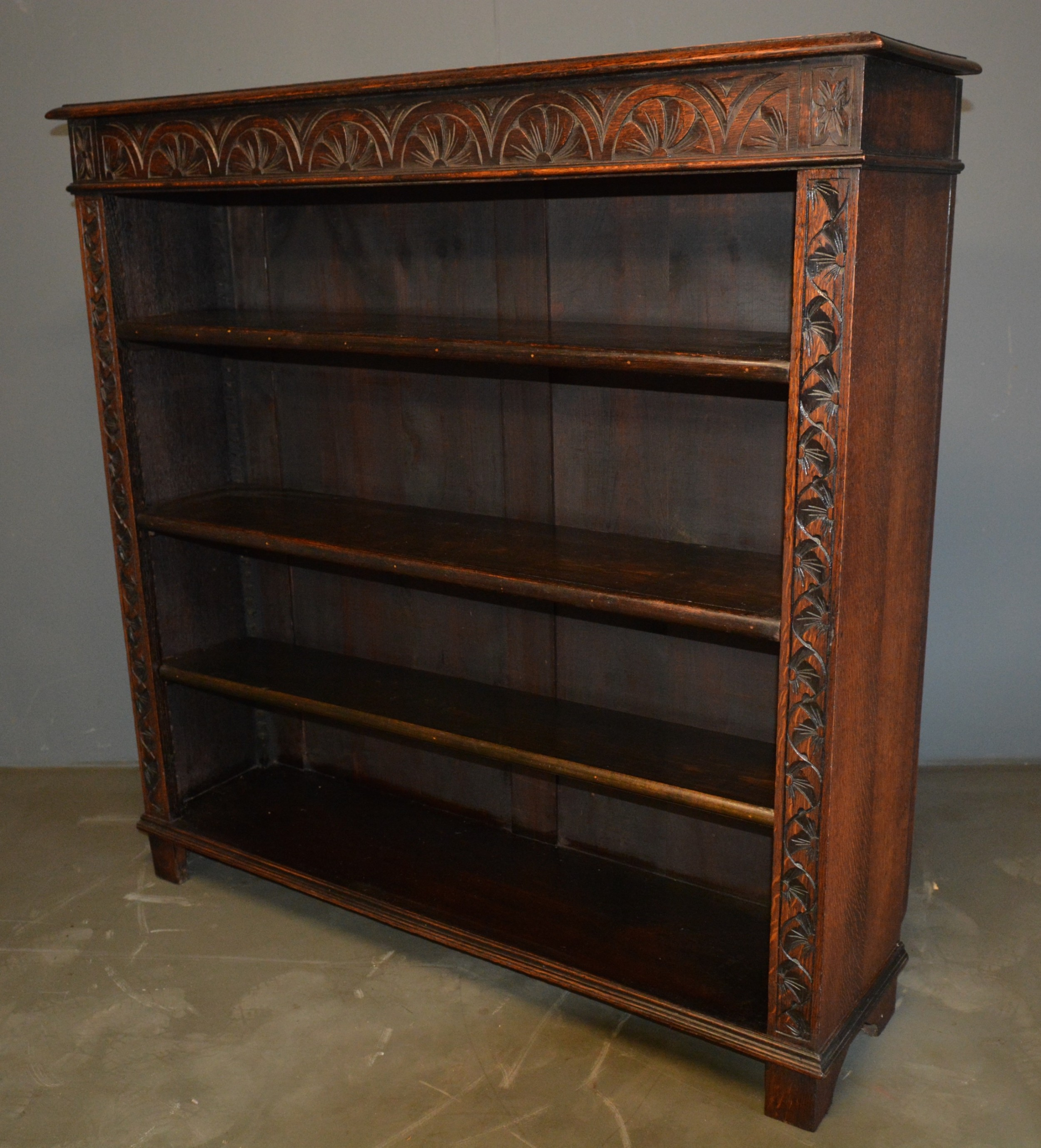 victorian carved oak open bookcase