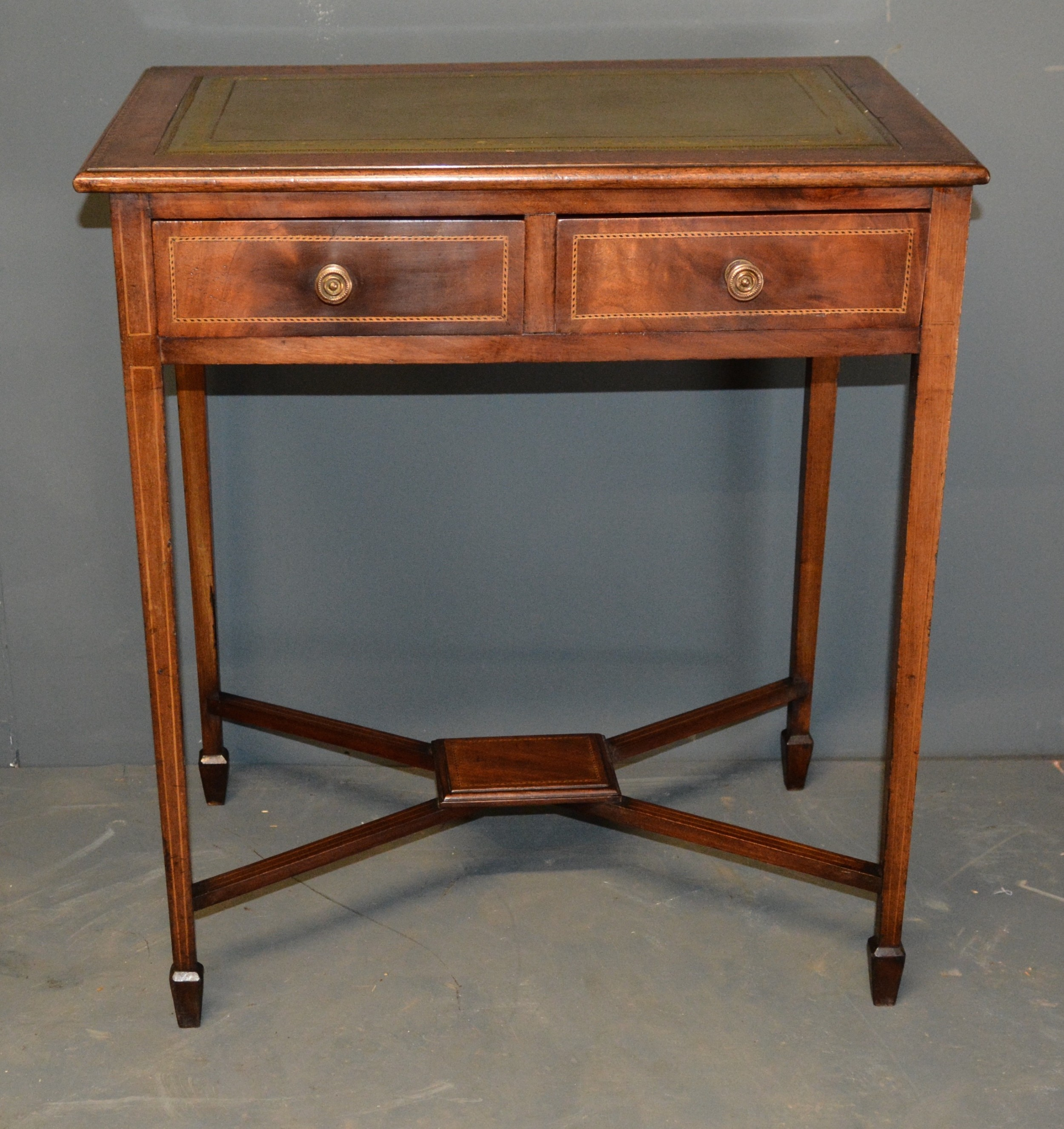 edwardian mahogany inlaid 2 drawer table