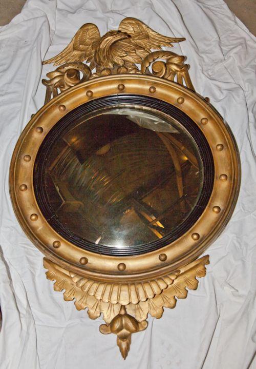 regency gilt convex mirror c1810