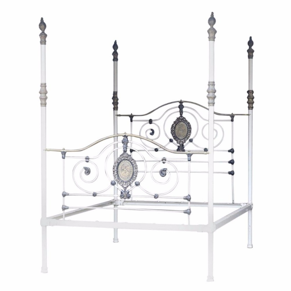 White Four Poster Bed Uk Part - 36: White Cast Iron Four Poster Bed