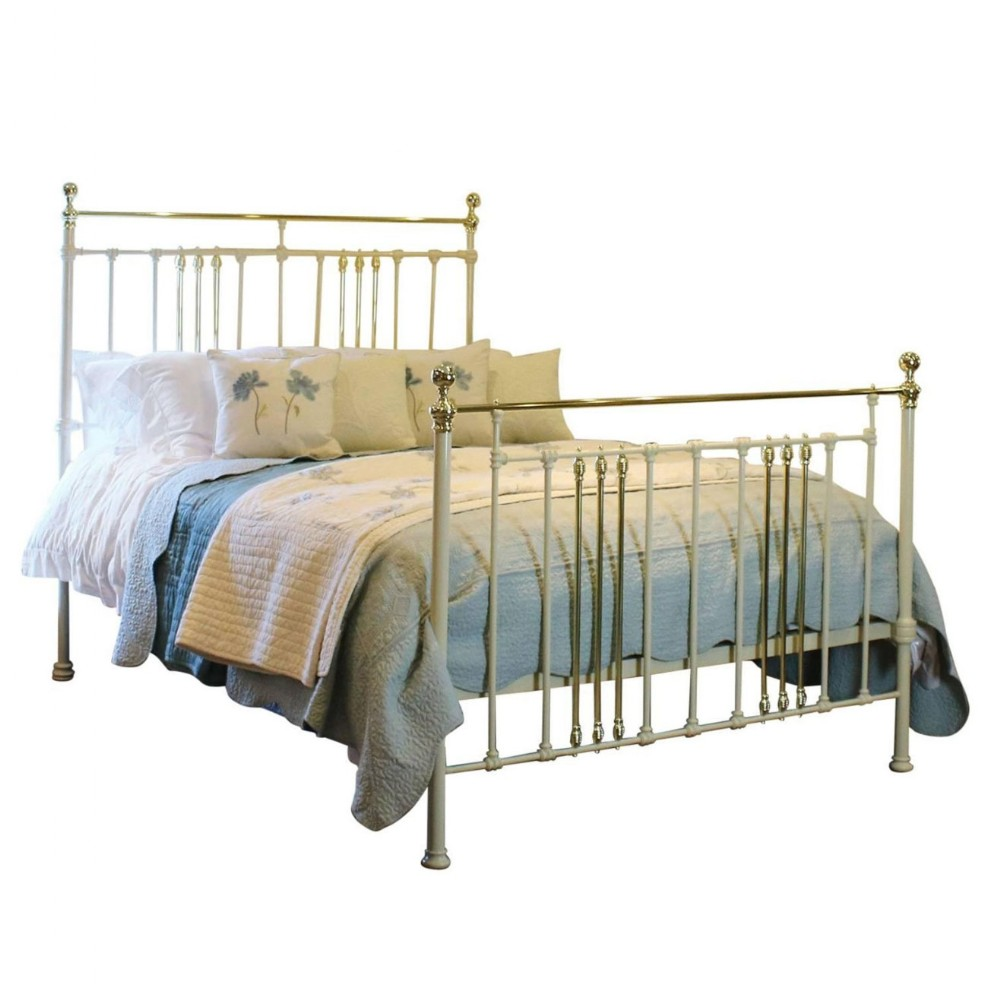 cream brass and iron bed
