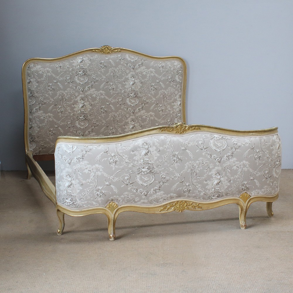 antique louis xv style upholstered bed