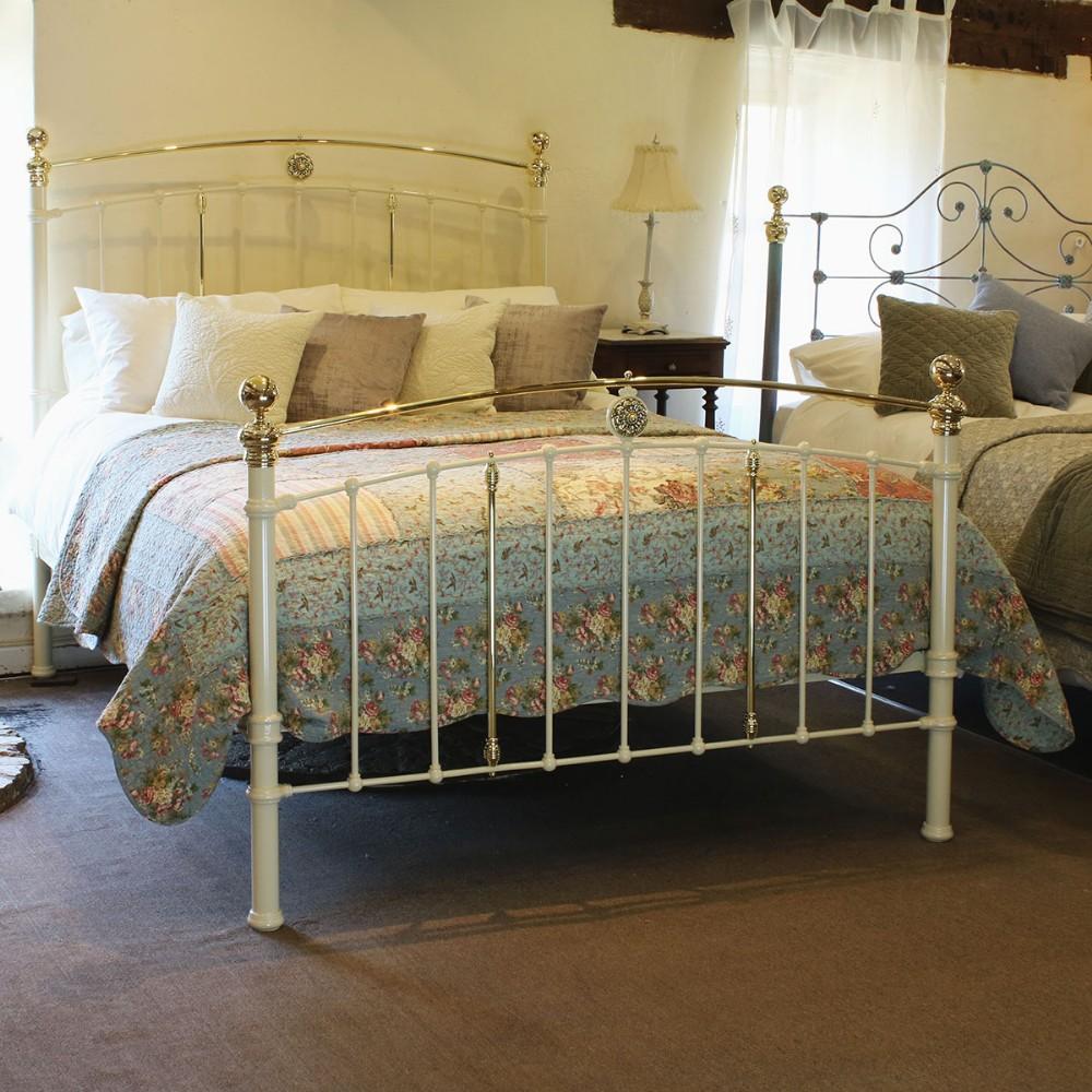 cream antique bed