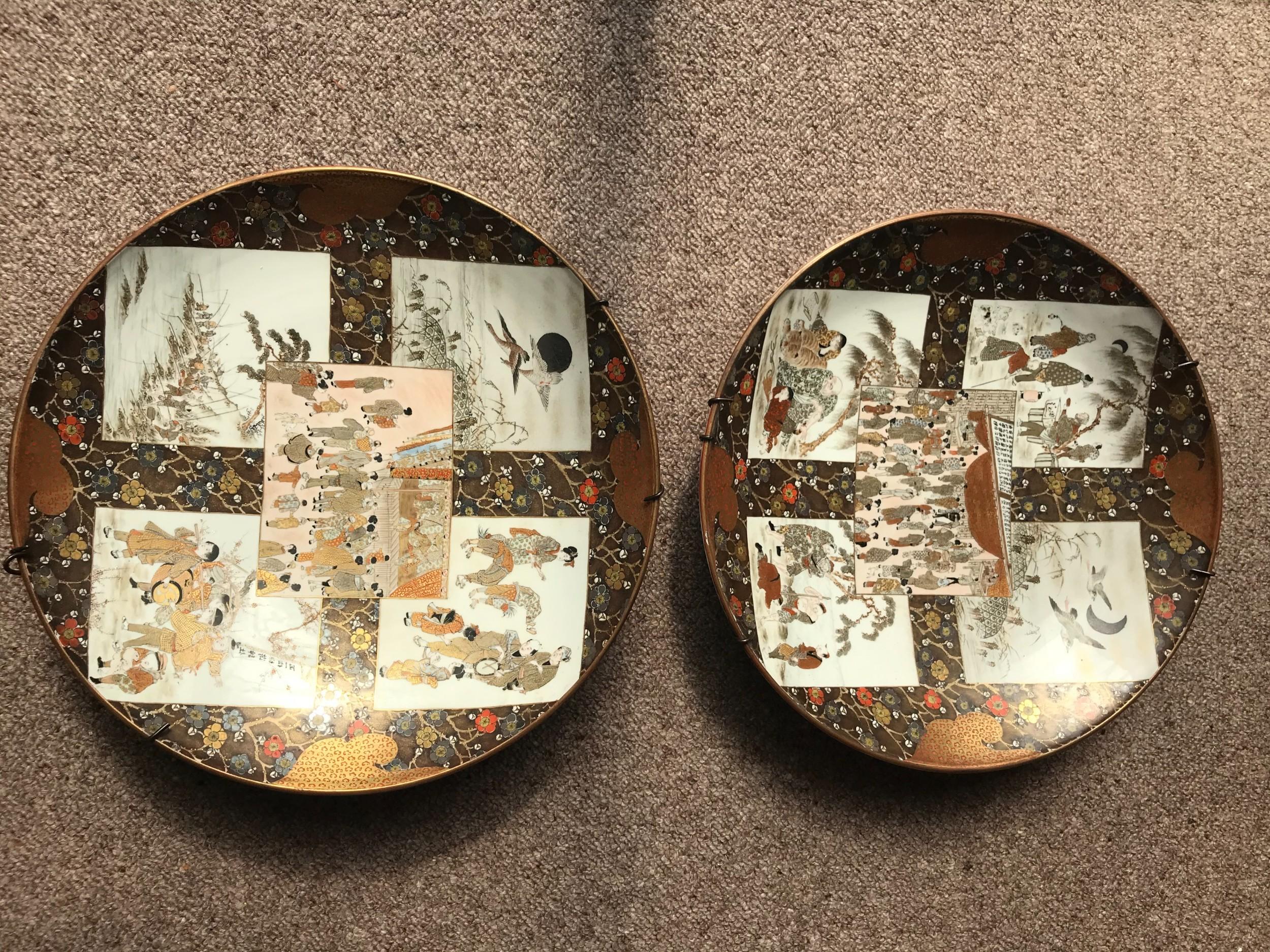 large japanese kutani porcelain chargers