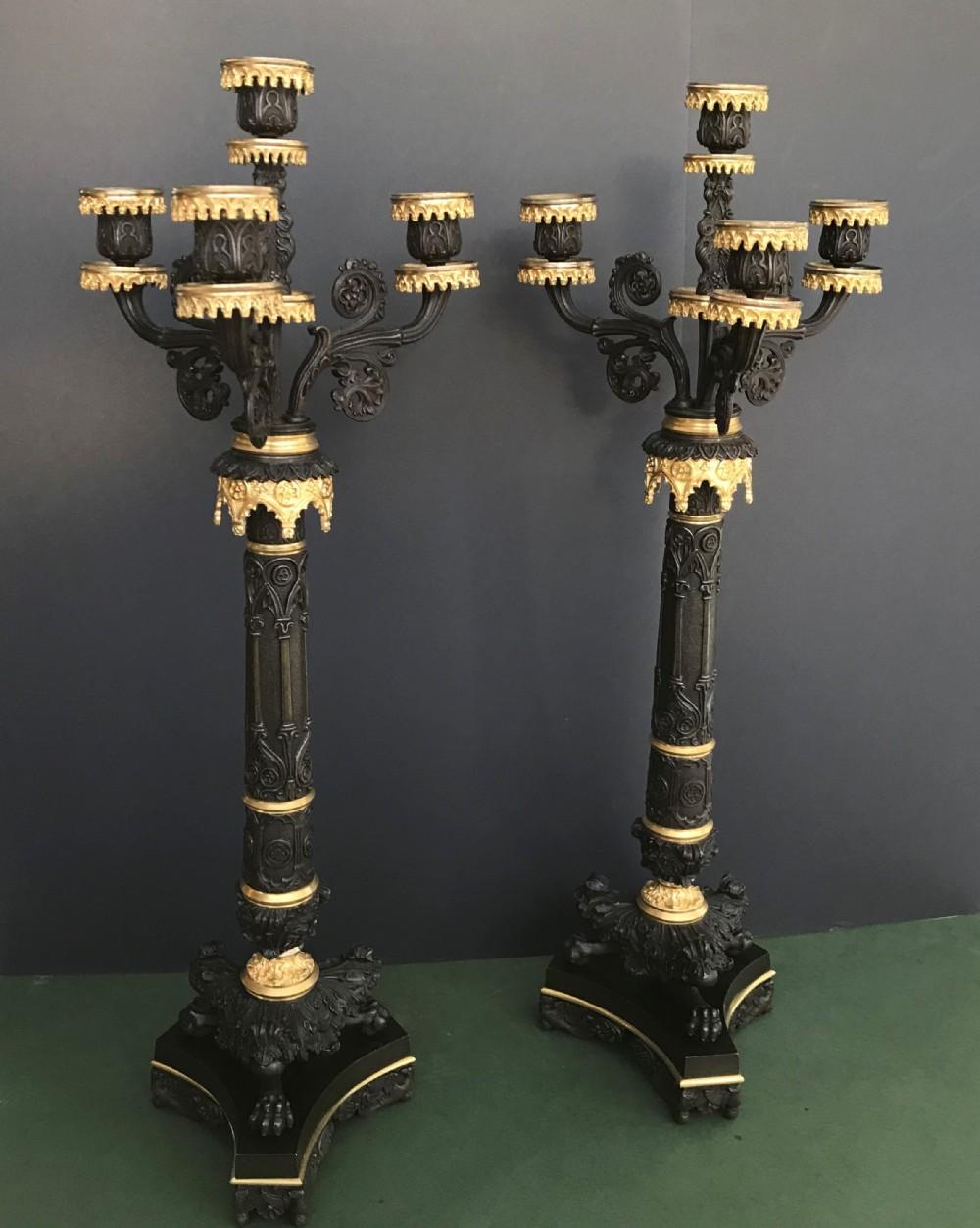 stunning pair of charles x period 4 light bronze and ormolu candelabra