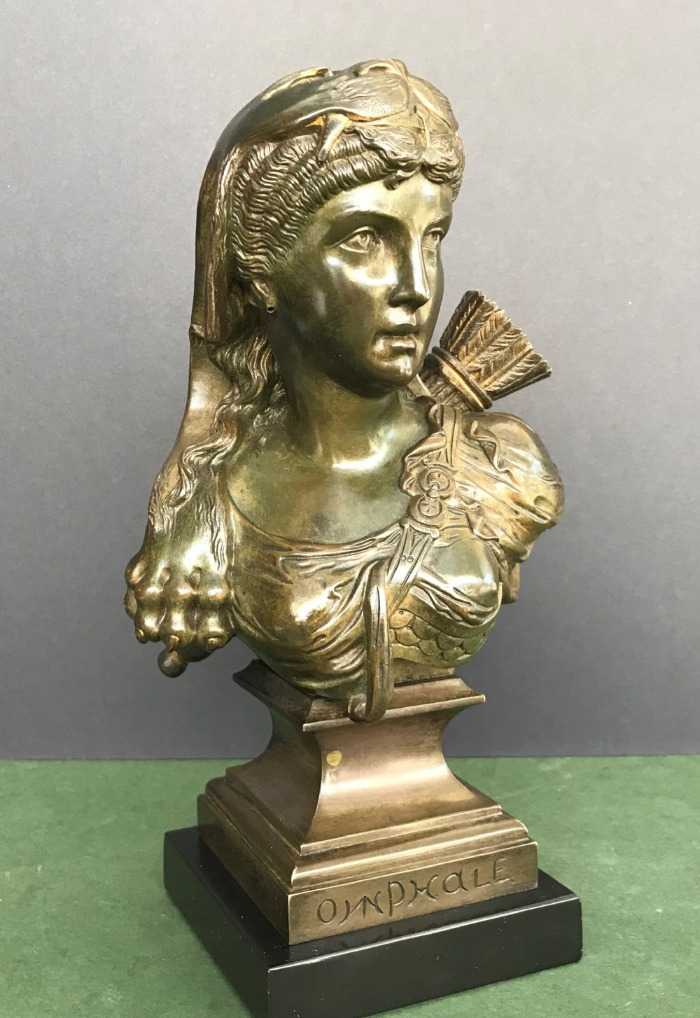 19th century bronze bust of omphale on a marble base