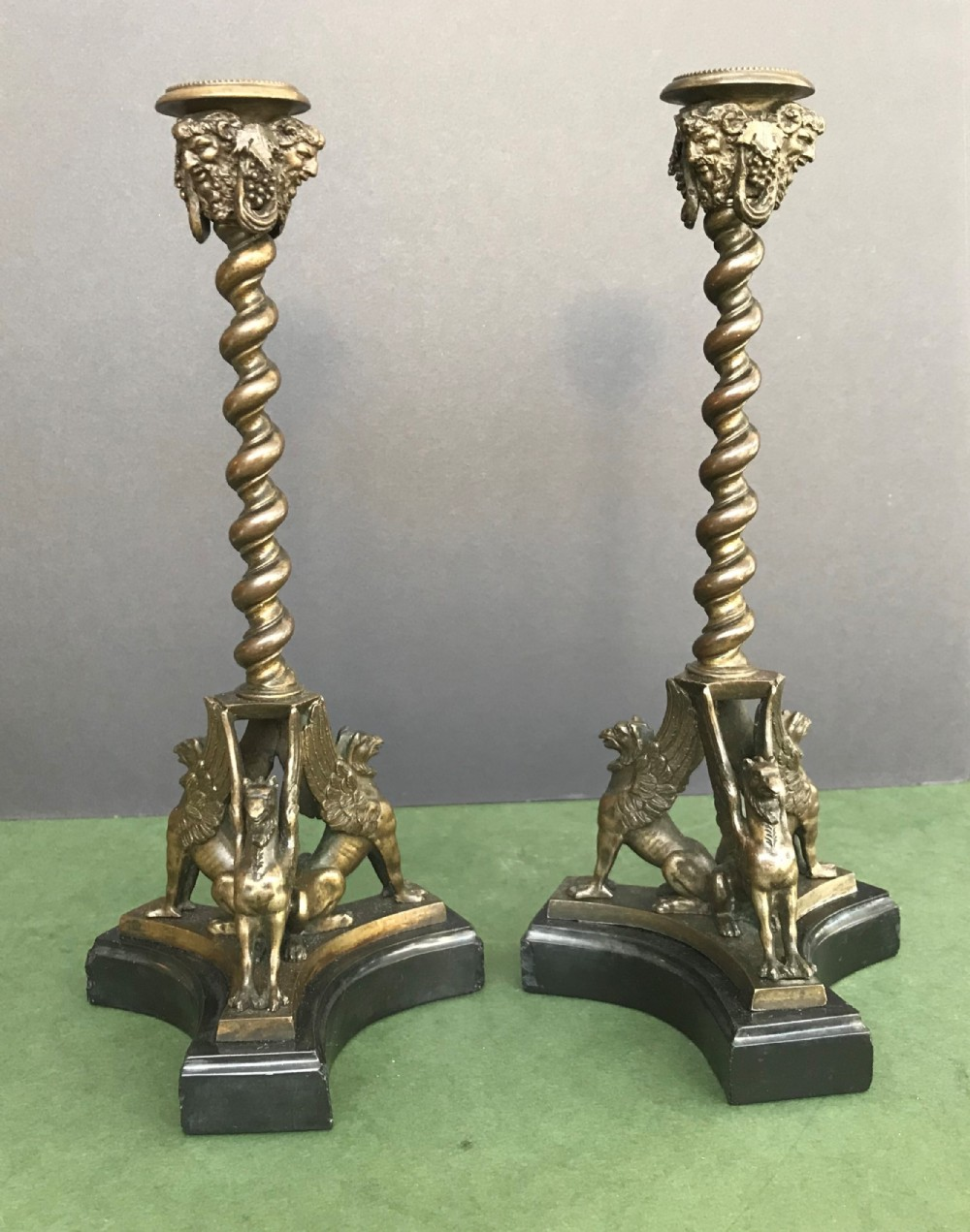 unusual pair of italian 19th century grand tour bronze and marble candlesticks