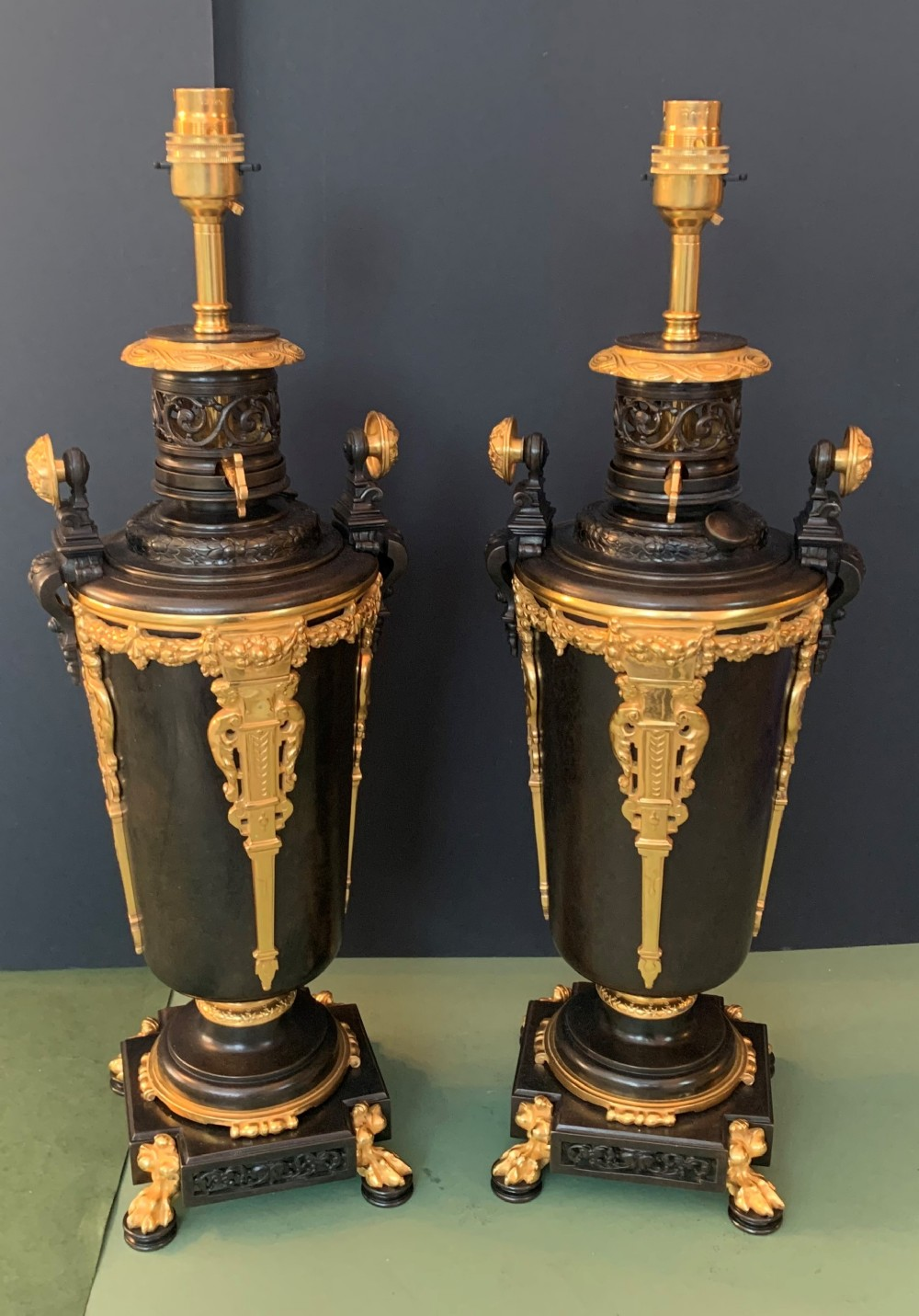 impressive pair of french antique bronze lamps circa 1880