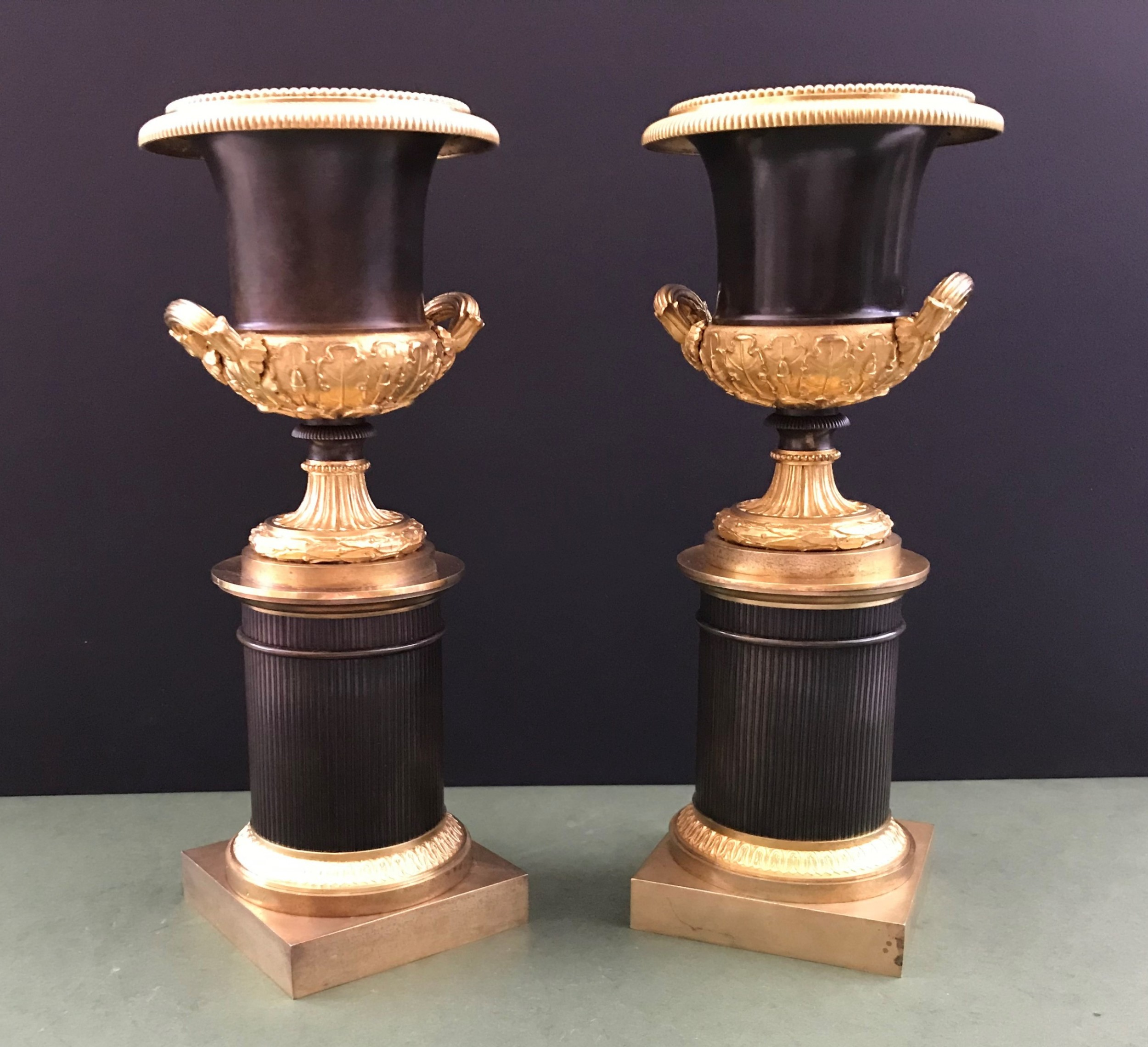 a fine and elegant pair of charles x bronze and gilt bronze campana form urns